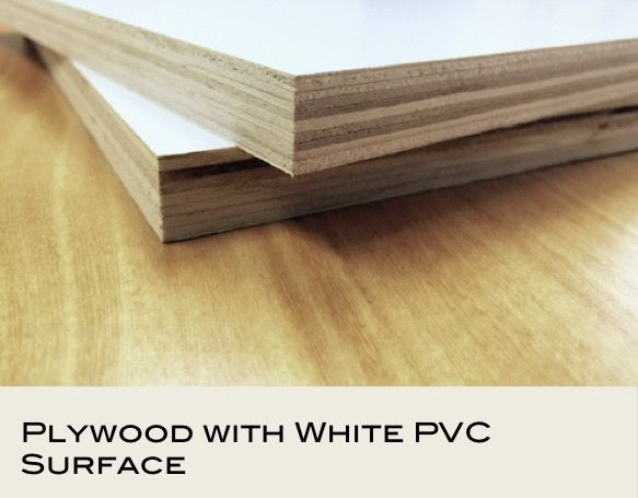 Plywood with white PVC surface (3mm to 25mm)